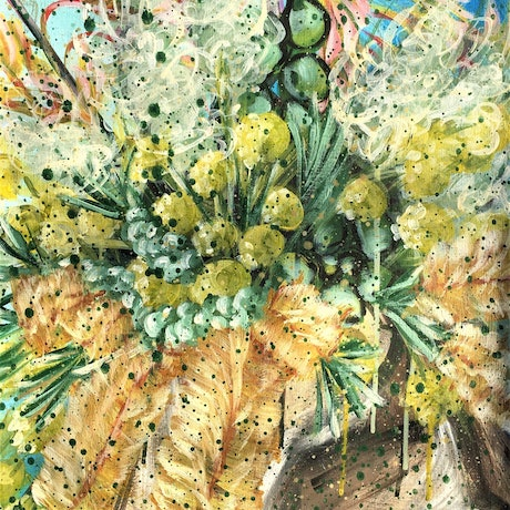 (CreativeWork) Sun Kissed Dream – Callistemon, Kangaroo paw, Grevillea and Billy button - Unframed  by HSIN LIN. Acrylic Paint. Shop online at Bluethumb.