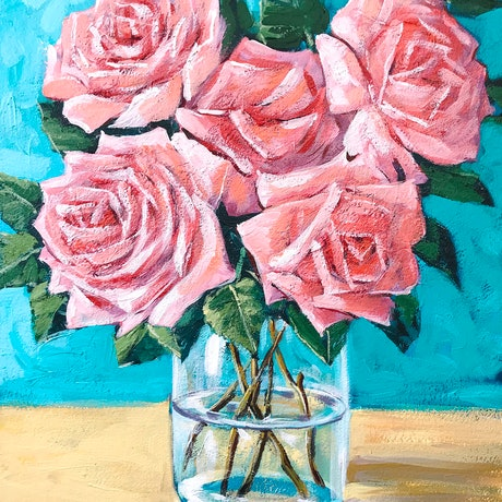 (CreativeWork) Pink roses  – framed original  painting  by Irina Redine. Acrylic Paint. Shop online at Bluethumb.