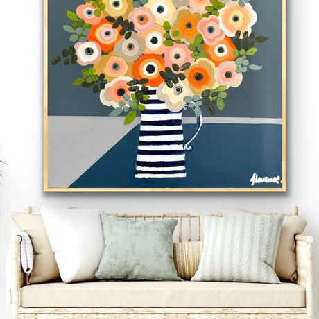 (CreativeWork) Anemones 106x106 framed large textured abstract floral  by Sophie Lawrence. Acrylic Paint. Shop online at Bluethumb.