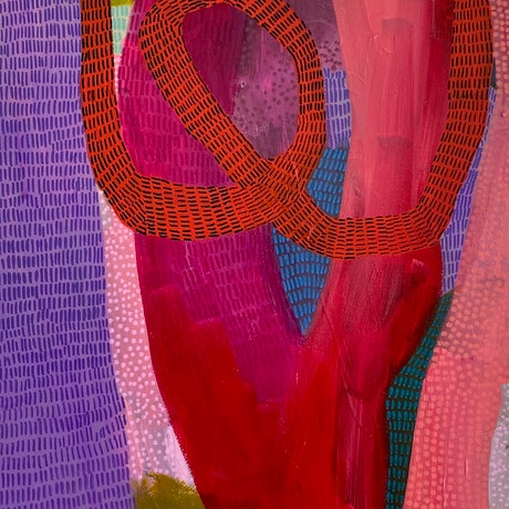 A small red canvas with intersecting areas of colour and pattern in purple, orange and pink.