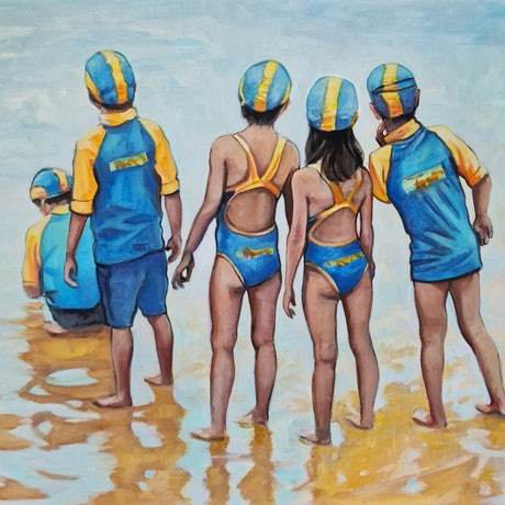 (CreativeWork) Nippers by Sherry McCourt. Oil Paint. Shop online at Bluethumb.