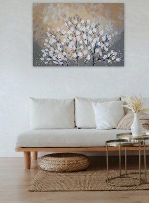 (CreativeWork) Cherry Blossoms in Hamptons Style by Cathy Jacobs. Acrylic. Shop online at Bluethumb.