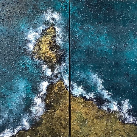 (CreativeWork) The Sea (diptych) by Magdalena Knight. Acrylic Paint. Shop online at Bluethumb.