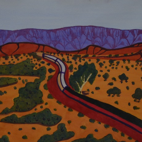 (CreativeWork) Ghan Travelling through Country 319-19 by Mervyn Rubuntja. Watercolour Paint. Shop online at Bluethumb.