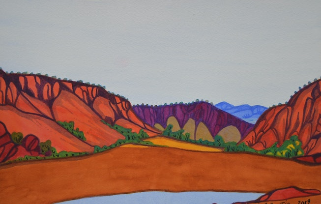 (CreativeWork) Glen Helen Gorge from the South Looking North 283-19 by Mervyn Rubuntja. Watercolour. Shop online at Bluethumb.