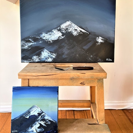 (CreativeWork) Climb To The Top - Dusk Till Dawn - Diptych  by HSIN LIN. Acrylic Paint. Shop online at Bluethumb.