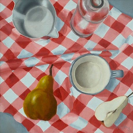 Pear and items on red gingham