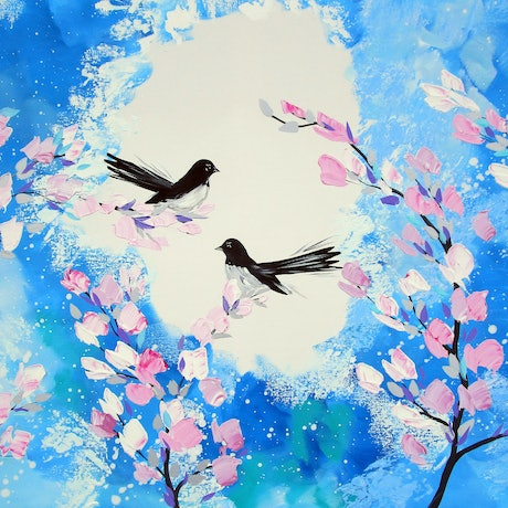 (CreativeWork) Blossom Branches and Willie Wagtails by Cathy Jacobs. Acrylic Paint. Shop online at Bluethumb.