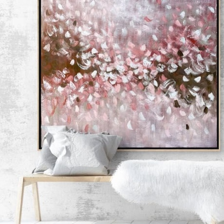 (CreativeWork) Pink Blush - Oil painting with oak frame by Belinda Nadwie. Oil Paint. Shop online at Bluethumb.