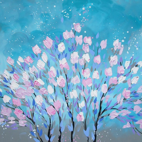 (CreativeWork) Cherry Blossom Spray with Pastel Tones by Cathy Jacobs. Acrylic Paint. Shop online at Bluethumb.