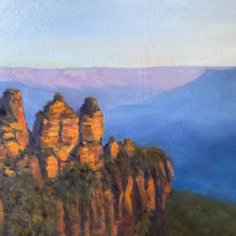 (CreativeWork) Blue mountains sunset   by Shelly Du. Oil Paint. Shop online at Bluethumb.