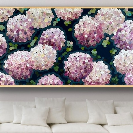 (CreativeWork) Pink night hydrangea 157x80 framed choice of color/ large textured abstract floral  by Sophie Lawrence. Acrylic Paint. Shop online at Bluethumb.