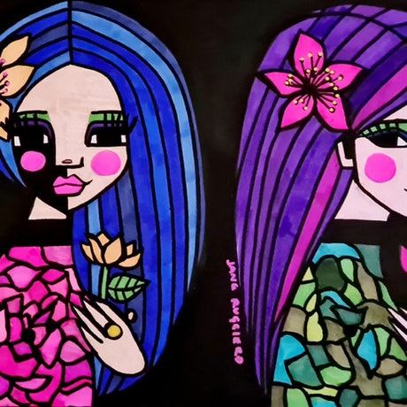 (CreativeWork) Mary and Martha by jane ruggiero. Drawings. Shop online at Bluethumb.
