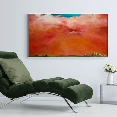 (CreativeWork) Dust Sunset Over The Range 150X80cm Extra Large Texture Landscape by Tania Chanter. Acrylic Paint. Shop online at Bluethumb.
