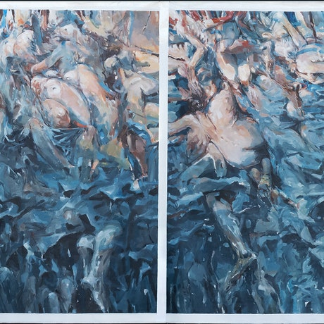 (CreativeWork) Segmented Reality Diptych by Tony Belobrajdic. Acrylic Paint. Shop online at Bluethumb.