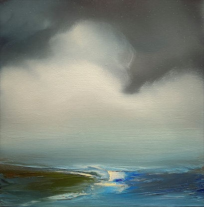 (CreativeWork) Morning Blues 1 by Elaine Green. Oil. Shop online at Bluethumb.