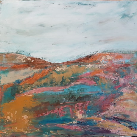 Moody sky behind a cascading abstract landscape of pinks, blues and ochre, which invites you to search for clues