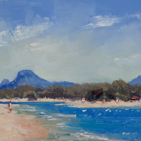 (CreativeWork) Morning Sparkle. Cottontree. Maroochydore. Qld by Barry Back. Oil. Shop online at Bluethumb.