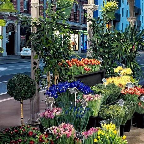 This painting portrays the night scene of an evening florist in Melbourne with its colourful display of cut flowers and plants.