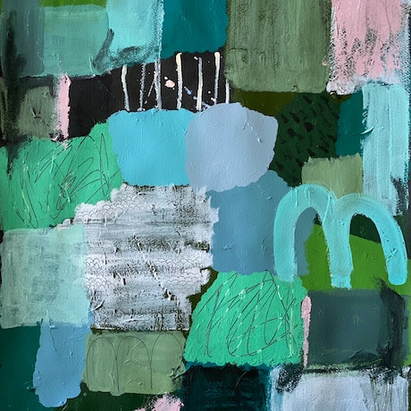 Abstract piece in green and blue tones enhanced with mark making and texture.