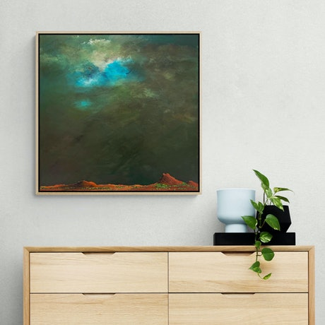 (CreativeWork) Above The Rich Red Earth FRAMED 60X60cm  Medium Textured Abstract Landscape by Tania Chanter. Acrylic Paint. Shop online at Bluethumb.