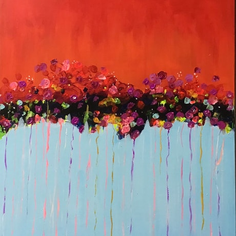 (CreativeWork) Red Bliss by Ron Brown. Acrylic. Shop online at Bluethumb.
