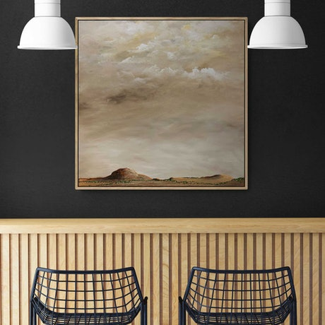 (CreativeWork) Afternoon Above The Range 60X60cm Framed Medium Textured Abstract Landscape by Tania Chanter. Acrylic Paint. Shop online at Bluethumb.