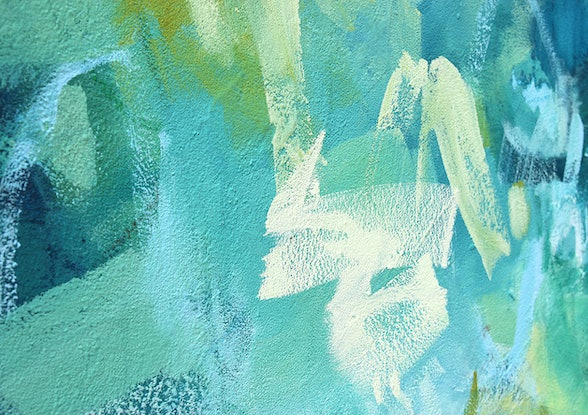 (CreativeWork) Beta - large blue green abstract by Stephanie Laine. Acrylic. Shop online at Bluethumb.