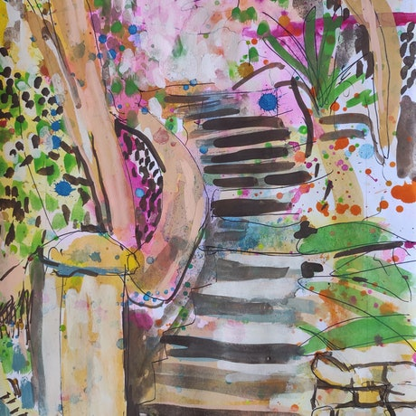 (CreativeWork) Old Stairs, Elizabeth Bay by John Douglas. Other Media. Shop online at Bluethumb.