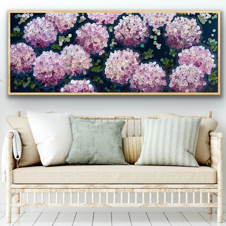 (CreativeWork) Pink night hydrangea 157x66 framed large textured abstract by Sophie Lawrence. Acrylic Paint. Shop online at Bluethumb.