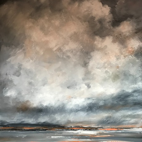 (CreativeWork) Evening Sky Storm Clouds - Framed by Maria Cross. Oil Paint. Shop online at Bluethumb.