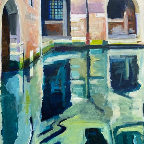 (CreativeWork) Reflections of Venice by Alison Pilcher. Acrylic. Shop online at Bluethumb.