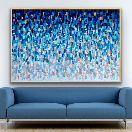 (CreativeWork) Color wave  157x107 framed large textured abstract  by Sophie Lawrence. Acrylic Paint. Shop online at Bluethumb.
