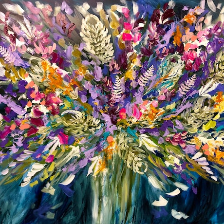 (CreativeWork) Delicate fern . Banksia and wildflowers  by Amanda Brooks. Acrylic Paint. Shop online at Bluethumb.
