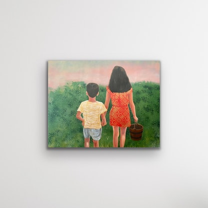 A boy & a girl holding hands and an empty water bucket at sunset.