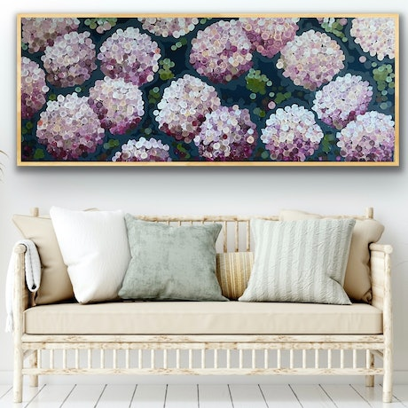 (CreativeWork) Pink night hydrangea 157x66 framed (choice of color ) large abstract floral by Sophie Lawrence. Acrylic Paint. Shop online at Bluethumb.