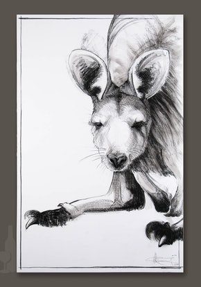 (CreativeWork) Portrait of Kangaroo No. 7 by Michael Chorney. Drawing. Shop online at Bluethumb.