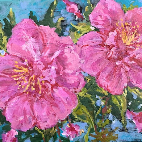 (CreativeWork) Pink Explosion by Helen Dubrovich. Acrylic Paint. Shop online at Bluethumb.