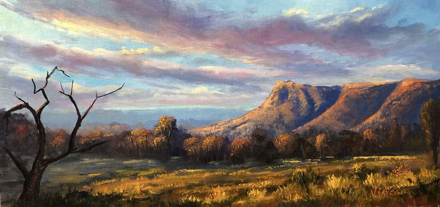 (CreativeWork) Last Light on Kings Canyon NT - Oil on linen board by Christopher Vidal. Oil. Shop online at Bluethumb.