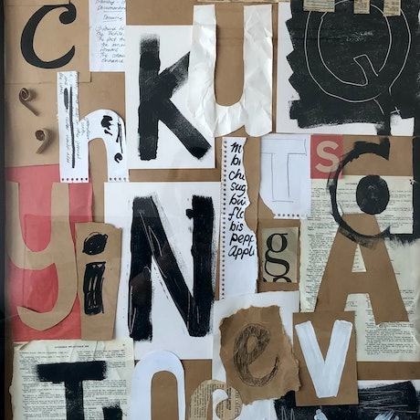 collage of alphabet letters in black, white, red and neutral palette