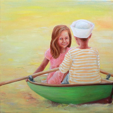 A boy & a girl sitting in a pea green row boat at sunset