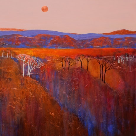 Colourful Outback landscape with detailed mountains and trees.