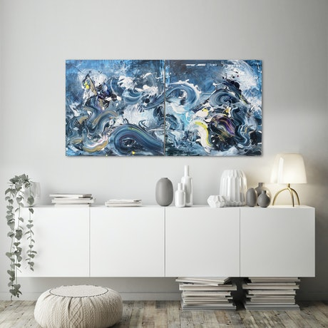 (CreativeWork) Summer Breeze - Diptych  by Annette Spinks. Acrylic. Shop online at Bluethumb.