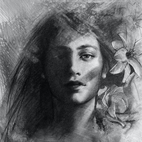 A realistic and textured charcoal drawing of a woman's face half in shadow and surrounded by flowers.