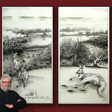Drawing of kangaroos in my back yard in Mannum South Australia. A foggy morning on the Murray River.