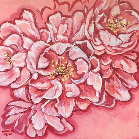 Floral fantasy of pink curvaceous blooms
