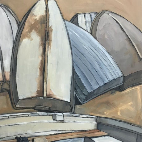 (CreativeWork) Dinghies on Woodley's Beach by Josephine Josephsen. Oil. Shop online at Bluethumb.