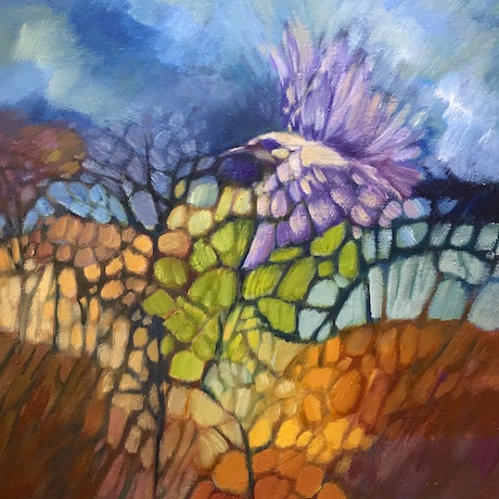(CreativeWork) Purple Icarus by Louise Isackson. Oil. Shop online at Bluethumb.