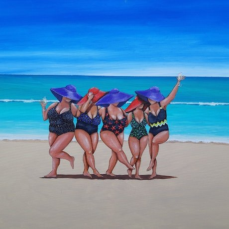 Five ladies on beach with champagne