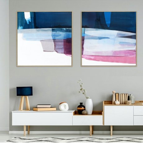 Large navy pink maroon sweeping mid century abstract diptych